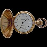 SALE Ladies Antique Illinois Dueber Full Hunters Case Bird & Floral Design Pocket Watch