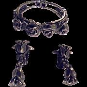 SALE Vintage Tortolani Roses Motiff Clamper Cuff Bracelet & Earrings Demi Parure