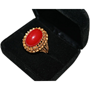 SALE Stunning Oxblood Coral Color Gold Plated Domed Cocktail Ring Size 8