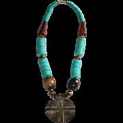 SALE Vintage Etruscan Horn & Trade Bead Pendant Necklace