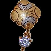 SALE Single 22K Diamond Drop Earring Two Color Gold