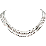 VOGUE Exceptional Silver Tone Multi-Textured Necklace
