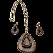 SALE Bakelite Runway Pendant Necklace and Drop Earrings