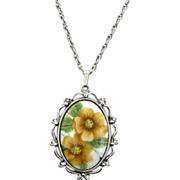 Whiting & Davis Oval Flower Pendant Necklace