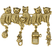 Awesome Gold Tone Kitty Cat Pin