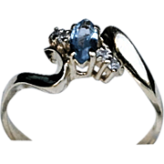 SOLD 10K Yellow Gold Marquise Cut Blue Topaz And Diamond Ring Size 7.5