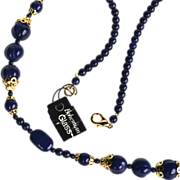 SALE Bohemian Glass Deep Blue and Gold Tone Necklace