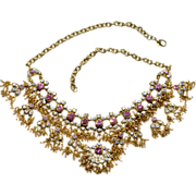 Vintage Gold Tone Drippy Rhinestone And Glass Bead Necklace