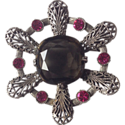Capri Silver Tone Pin/Pendant With Huge Glass Stone and Fuschsia Rhinestone Accents