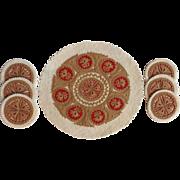 SALE Circa 1930's German Felt Folk Design Plate and Glass Coasters From Bavaria