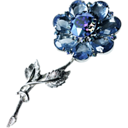 SALE DeLizza & Elster Stunning Blue Crystal and Aurora Borealis Flower Pin