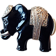 Vintage Black Acrylic Elephant Pin