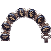SALE Circa 1930-40's Black Glass Cabochon Siam Dancer Bracelet