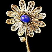 SALE ART Circa 1950-60's Gold Tone Flower Brooch