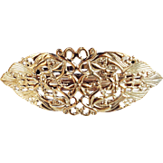 Vintage Signed Philips Antiqued Gold Tone Hair Clip