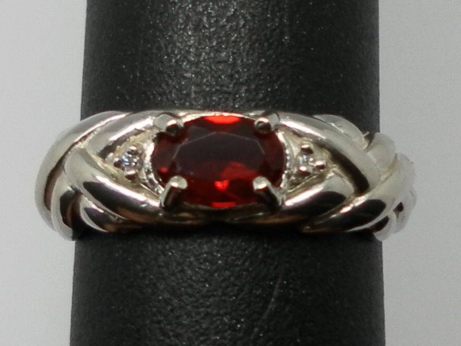 Vintage 14kt Red Andesine & Diamonds Ring; FREE SIZING