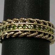 Vintage 14kt Peridot Ring; FREE SIZING.