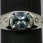 Vintage 14kt Aquamarine Men's Ring; FREE SIZING