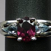 Vintage Rhodolite & Aquamarine Sterling Silver Ring; FREE SIZING.