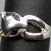 Vintage Blue Sapphire Cat Silver Ring; FREE SIZING