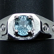 Vintage 14kt Blue Zircon Men's Ring; FREE SIZING