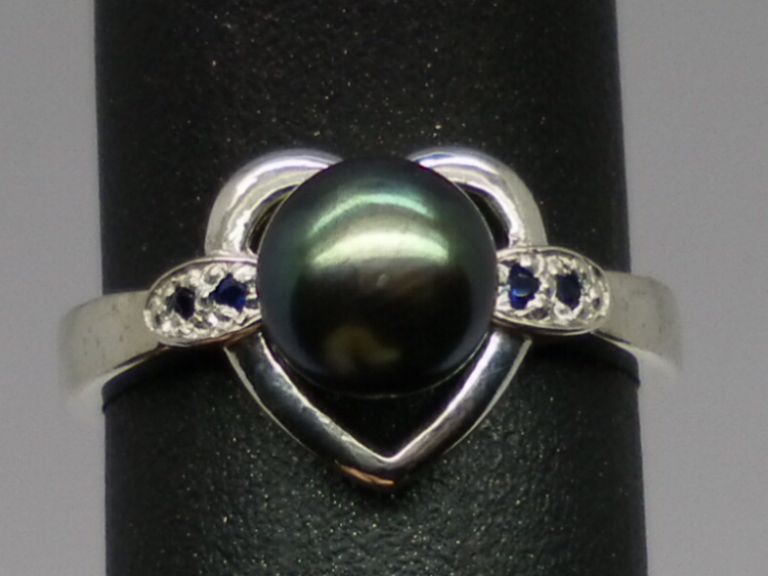 Vintage Tahitian Black  Pearl & Sapphire Ring; FREE SIZING
