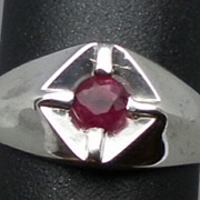Natural Ruby  Men's Silver Ring, ANY SIZE FROM 4 TO 15