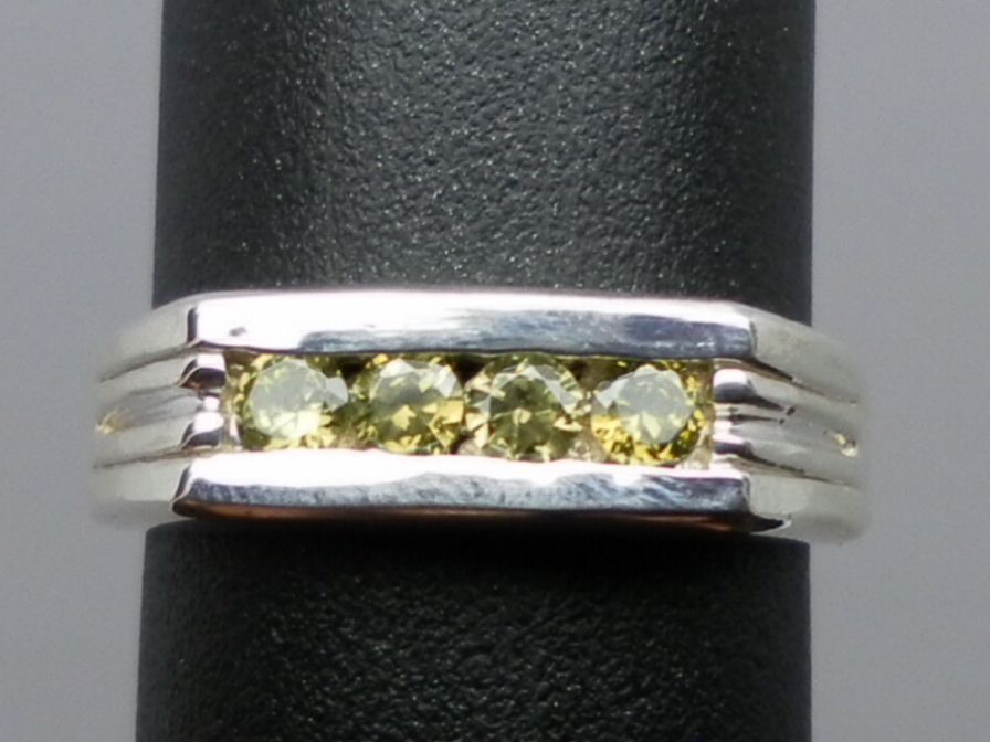 Natural Peridot Silver Men's Ring;  ANY size from 4 to 15