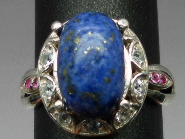 Vintage Lapis, Aquamarine & Ruby Silver Ring; FREE SIZING.