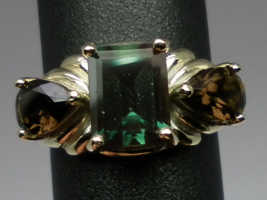 Vintage 14kt Green Andesine & Quartz Ring; FREE SIZING.