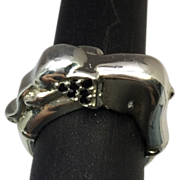 SALE Natural Black Onyx Elephant Ring