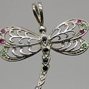 SALE Dragonfly Gemstones Silver Pendant