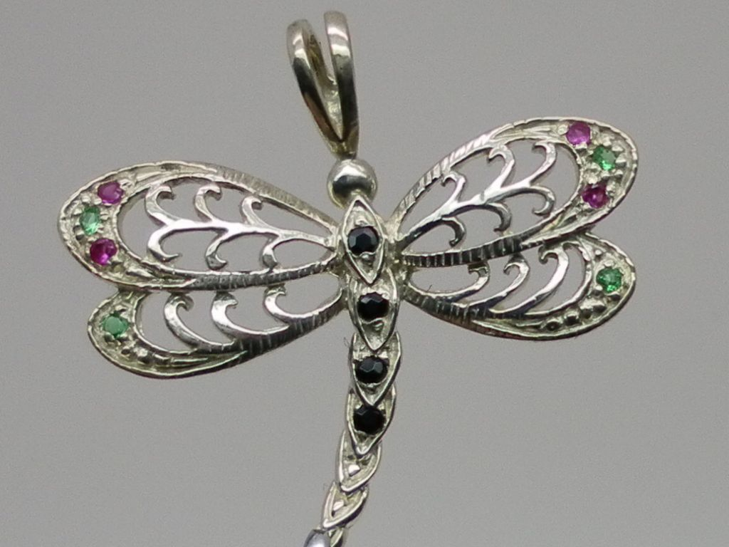 Dragonfly Gemstones Silver Pendant