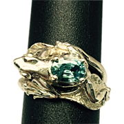 SALE Natural Blue Zircon 14k Frog Ring. FREE SIZING