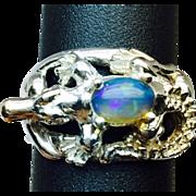 SALE Natural Ethiopian Opal 14k Ring. FREE SIZING