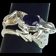 SALE Natural Amethyst 14k Frog Ring. FREE SIZING