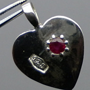 SALE Natural Ruby Silver Pendant