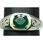 14k Green Agate Men's Ring, Free Sizing