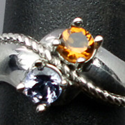 Natural Citrine & Tanzanite Silver Ring, ANY SIZE FROM 3 TO 13.