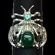 SALE Malachite & Zircon 14k Bug Ring, Free Sizing
