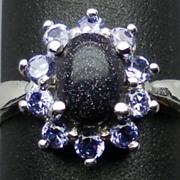 Natural Sunstone & Tanzanite Silver Ring,