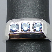 Natural Blue Topaz Silver Ring, ANY SIZE FROM 4 TO 15