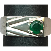 Colombian Emerald Men's Ring, W-Y-R 14k Ring, Free Sizing
