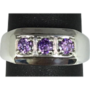 14k Amethyst Men's Ring, W-Y-R, Free Sizing