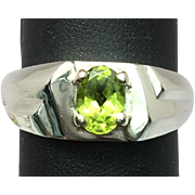 14k Peridot Men's Ring, Free Sizing