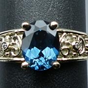 14kt London Blue Topaz & Diamonds Ring; FREE SIZING.