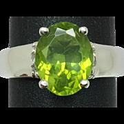 14k Peridot & Diamond Ring, FREE SIZING