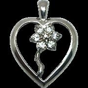 14k White Sapphire Heart Pendant W-Y-R