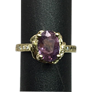 14k Amethyst & Diamonds Ring, FREE SIZING