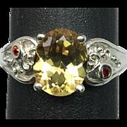 14k Citrine & Garnet Ring, FREE SIZING
